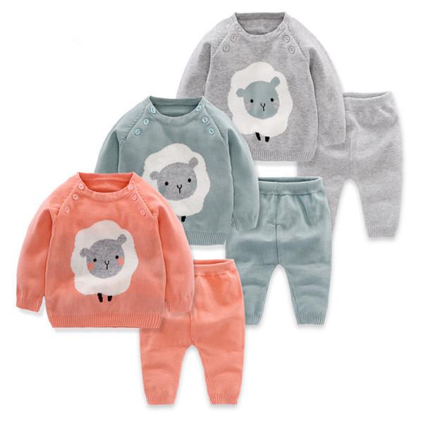 2 pz Baby Boy Set Lana Maglione di Cotone Lavorato A Maglia Delle Ragazze Dei Ragazzi Set Infantile Caldo Pullover Pantaloni Suit Neonati Toddler Set di Abbigliamento Y190518