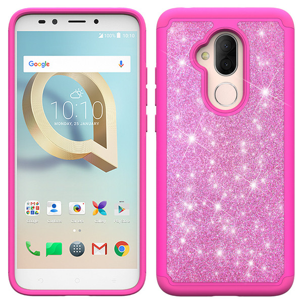 Bling Glitter Shockproof Cell Phone Case Cover For Samsung Galaxy J2 core A6 2018 LG Aristo 3 TPU+Skin 2 in 1 case Oppbag