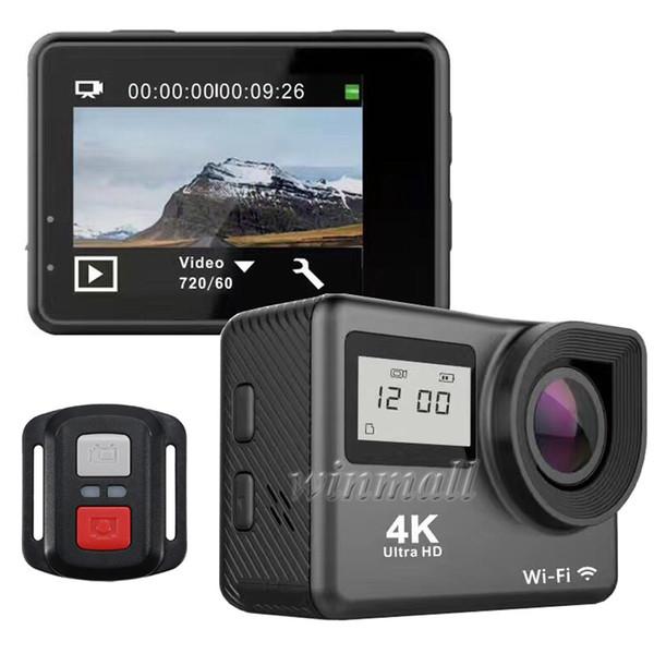 best selling New 4K Action Camera Dual Screen Allwinner V3 2.4 Remote Control Wifi Waterproof Helmet Sports Cam Mini DV