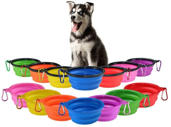 Dog Bowl Dog Cat Pet Travel Bowl Silicone Collapsible Feeding Water Dish Feeder portable water bowl for pet JXW022
