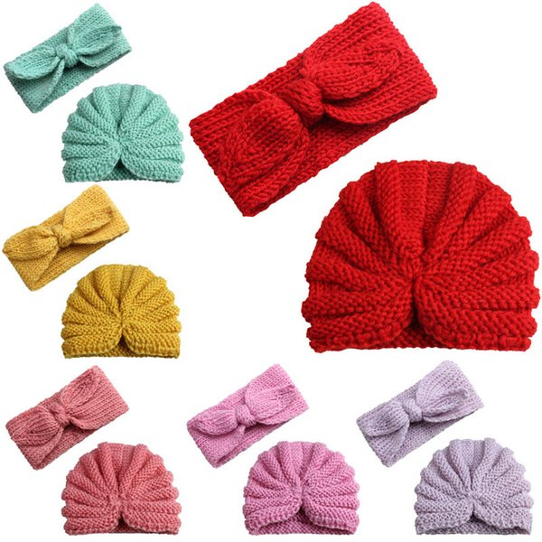 Fashion 2pcs/set Baby Hat+designer Headband Fashion Newborn Beanies Girls Headbands Girls Caps Crochet Knit Hat kids Hair Bands A2636
