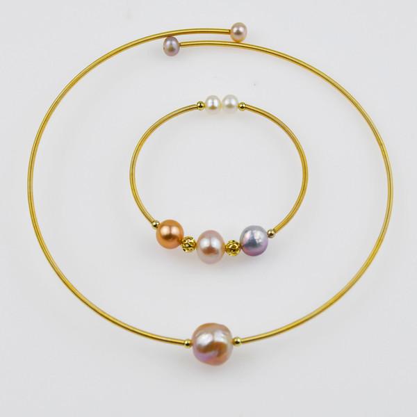KBJW الصلبة الذهب لون حقيقي لؤلؤة قلادة وسوار مجموعة اليدوية حساسة أنيقة مجوهرات الوردي المياه العذبة بيرل الحزب للمرأة