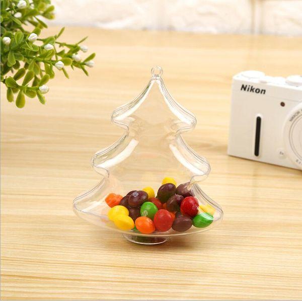 30 stücke Freies Verschiffen Transparente Weihnachtsbaum Pralinenschachtel Kreative Hochzeitsdekoration Nette Speicher Plastikflaschen Party Pack