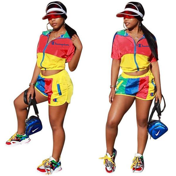 Kadın C mektup Patchwork Eşofman Kısa Kollu Mandarin Yaka Fermuar Hoodies T gömlek Şort 2 adet / takım Kıyafet Jogging Yapan Spor Takım Elbise LJJA2298