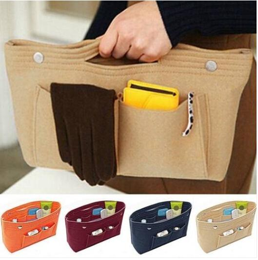 Sales Wholesales Free shipping 2019 Women's Handbag Organizer Bag Purse Insert Bag Felt MultiPocket Tote Bags New