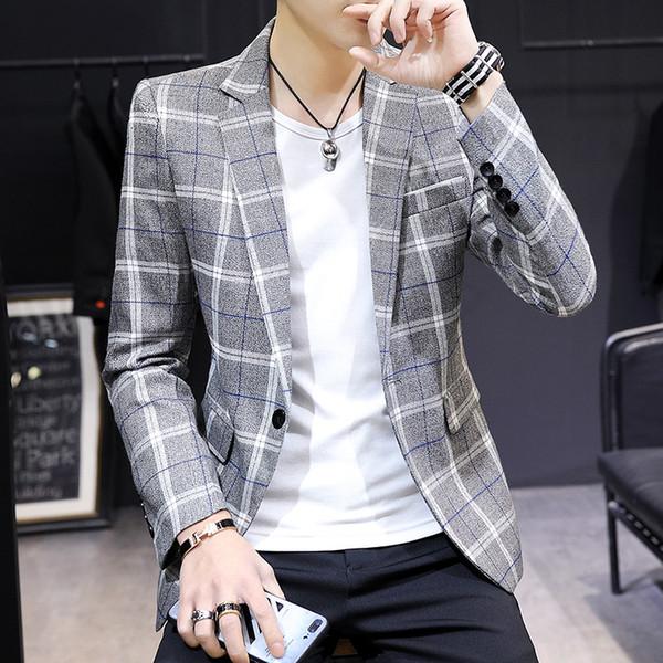 Traje Hombre 2019 New Plaid Business Casual Kleine Anzug Männlich Slim Korean Version Veste Homme Kostüm