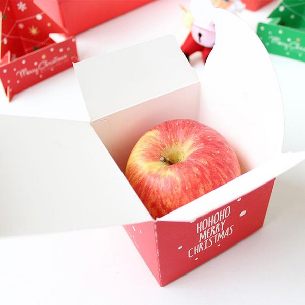 Caixa de presente de Natal belamente dobrado da Apple de Natal colorido doces Biscuit Box Stocking Ornaments