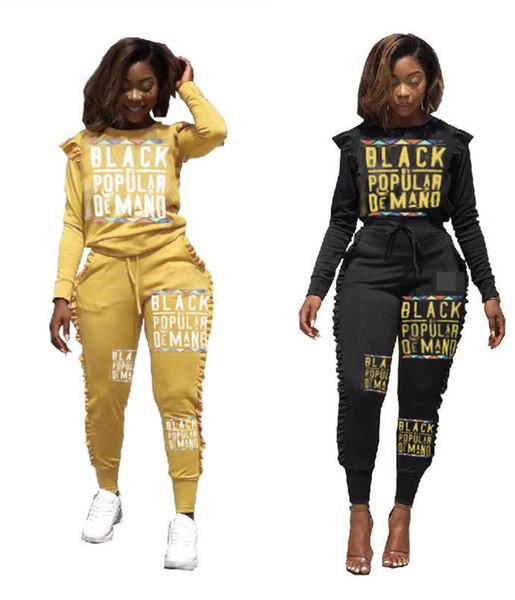 Пуловер зимний спортивный костюм Черный Письмо печати женщины 2 шт. набор экипировка мода с длинным рукавом балахон топ и брюки повседневная экипировка спортивные костюмы