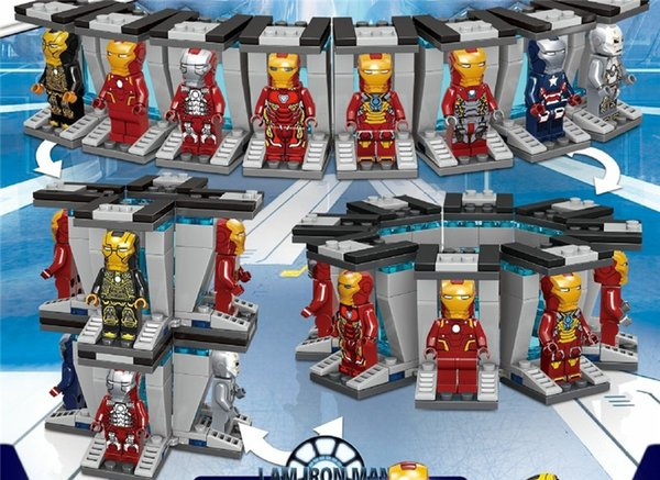 top popular 64002 64029 8pcs super heroes iron man spiders-man building blocks bricks minifigures baby toys children gift education model 2019