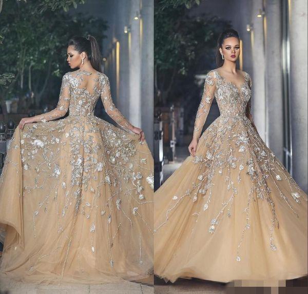 2019 Champagne Long Sleeve Plus Size Wedding Dress cheap lace wedding dresses bridal gowns Lace 3D Appliques Floor-Length