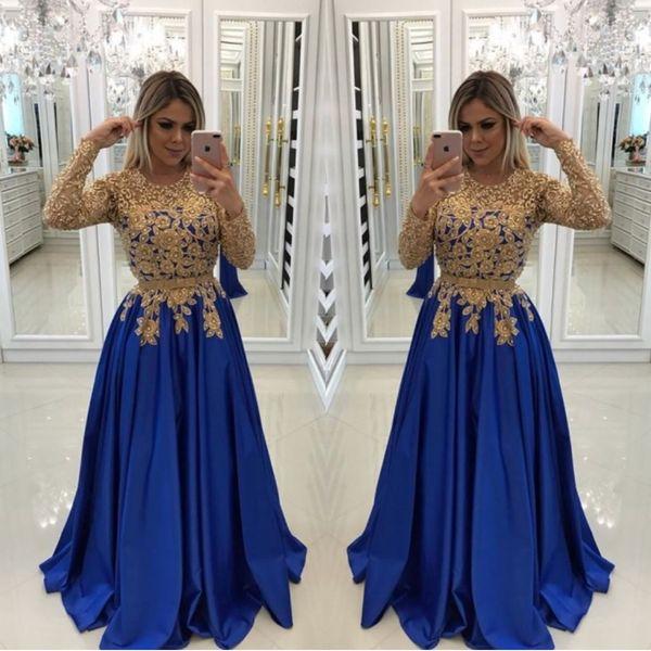 Sexy azul real con cuentas de encaje doradas Vestidos de noche Caftan Vestidos formales Ilusión Manga larga Lentejuelas Satén Vestido de fiesta Vestido de noche
