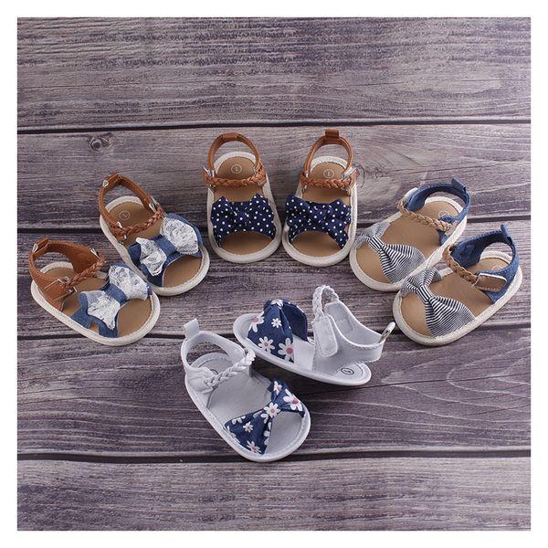 USA Summer Baby Girls Sandals Bowknot Anti-Slip Crib Shoes Soft Sole Prewalkers