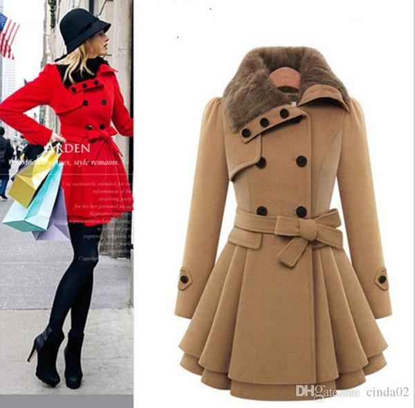 Большой Размер Женщины Тонкий С Длинным Рукавом Пальто Двубортный Пальто Толстые Пальто + Пояс