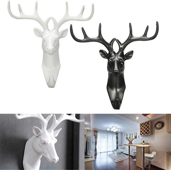 Black Deer Head Self Adhesive Key Hook Coat Hat Cap Hanger Racks Room Decorations Wall Bag Keys Sticky Holder Antlers hooks Free Shipping