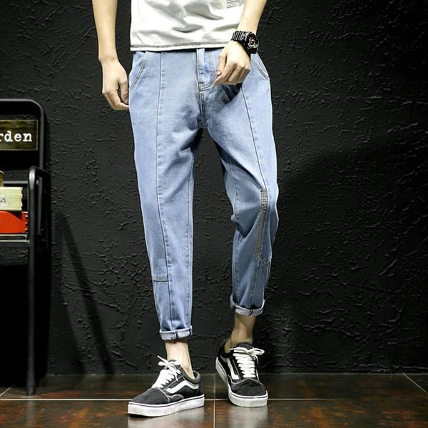 Erkek streetwear pantolon rahat kot erkek dar kesim 2019 hip hop kot pantolon pantolon erkek ayak bileği uzunluğu kovboy Asya boyutu J06 5XL