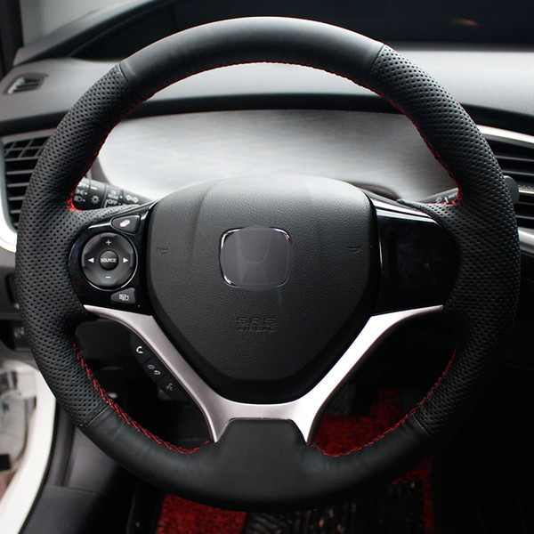 Black Natural Leather Car Steering Wheel Cover for Honda Civic Civic 9 2012-2015