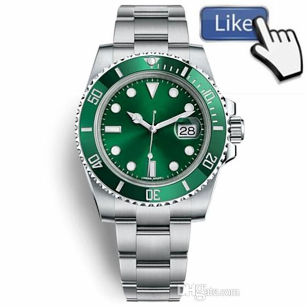 2019 Top Luxury Ceramic Bezel Mens Watches Mechanical Stainless Steel Automatic Movement Green Watch Sports Self-wind Watches 116610LV Wrist