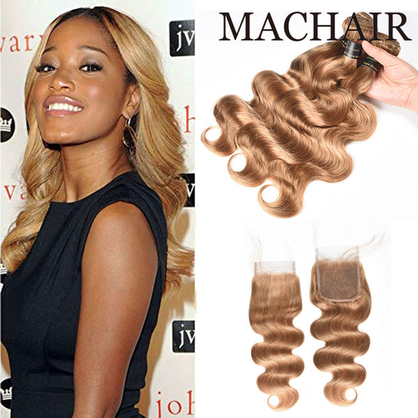 #27 Malaysian Body Wave Straight Hair With Closure Honey Blonde Color Human Hair Weave 3 Bundles With 4X4 Lace Closure Free Part