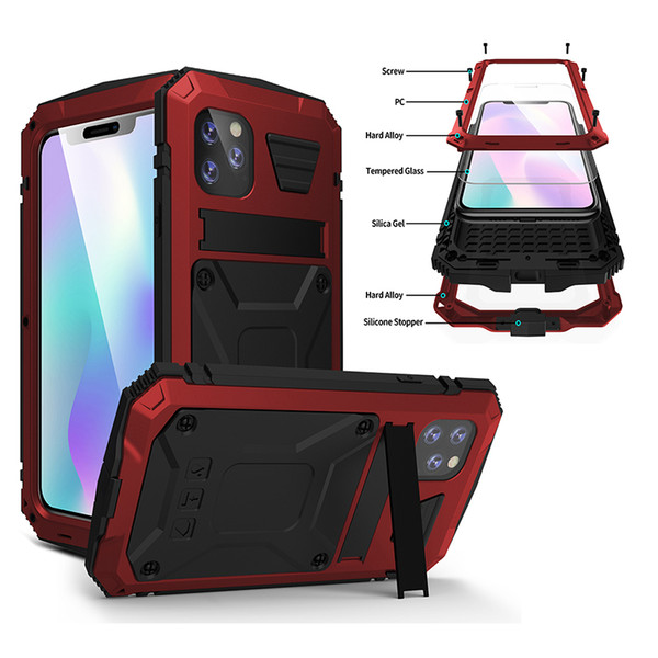 best selling Brand new waterproof armor Metal Aluminum case for new iPhone 11 pro Case for XS MAX XR XS Full Body Cover Shockproof case with kickstand