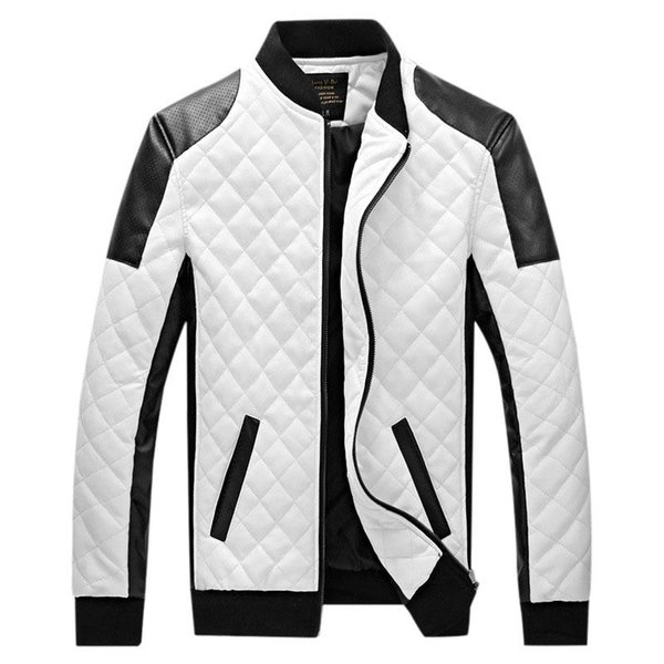 wholesale- 6xl 2017 new brand leather jacket mens plus size winbreak patchwork black&white pu jacket thin&thick warm motorcycle coats xa049