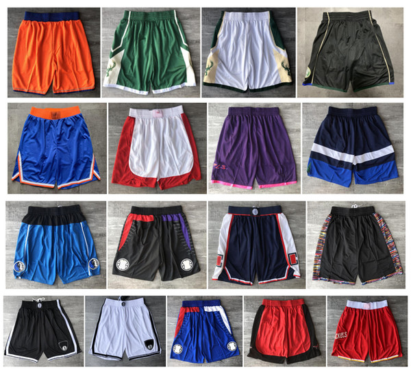 top popular Top Quality ! 2020 Team Basketball Shorts Men Shorts Sport Shorts College Pants Green White Blue Red Black 2020
