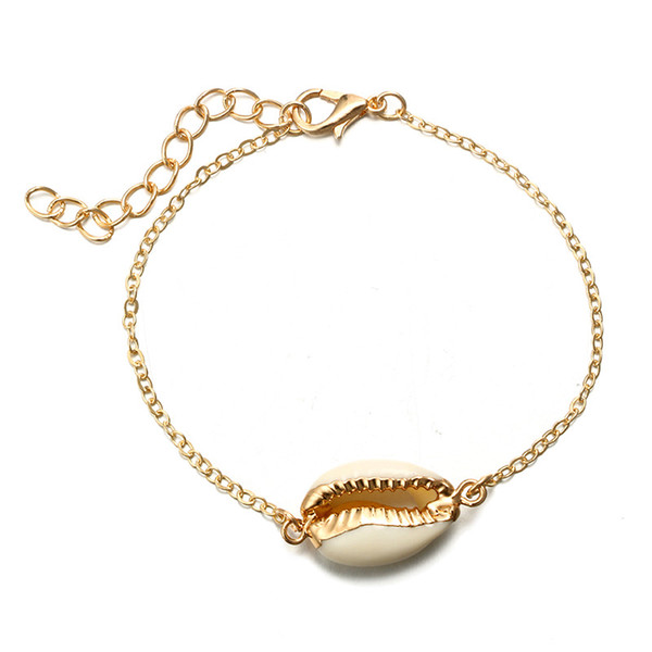 Shell Charms Bracelets for Women Girl Boho Statement Jewelry Gold Color Adjustable Chain Bracelet Beach Party Bangles Jewelry Gifts DHL
