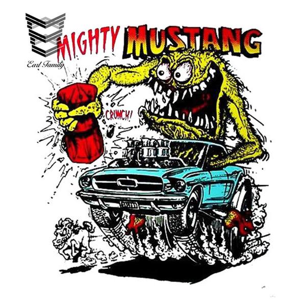 EARLFAMILY 13cm X 11.7cm Etiqueta engomada del coche de la historieta MIGHTY MUSTANG Vinyl Decal Graphic Car Window Bumper Tronco decoración de estilo