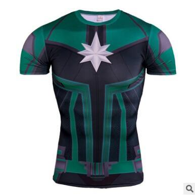 Fashion Captain America T-shirt men short sleeve 3d tights t shirts Cosplay surprise captain compression fitness summer t-shirt