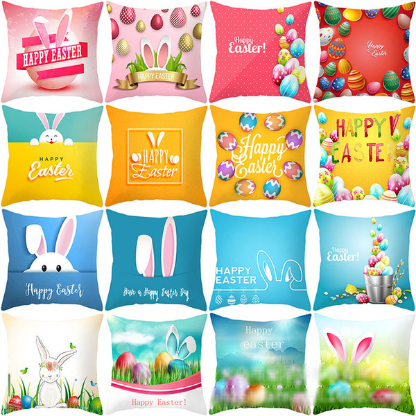 top popular Easter bunny Pillows Case rabbit Letter print Pillow Cover 45*45cm Sofa Nap Cushion Covers Home Decoration 86 styles C6081 2021