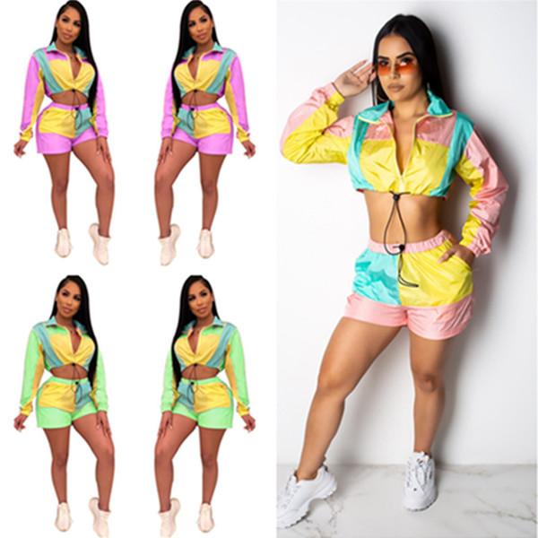 Women Crop Zipper Top+ Shorts Set Summer Tracksuit Color Match Patchwork Long Sleeve Sun Protective Jacket Outfit 2 Piece Sportswear C435