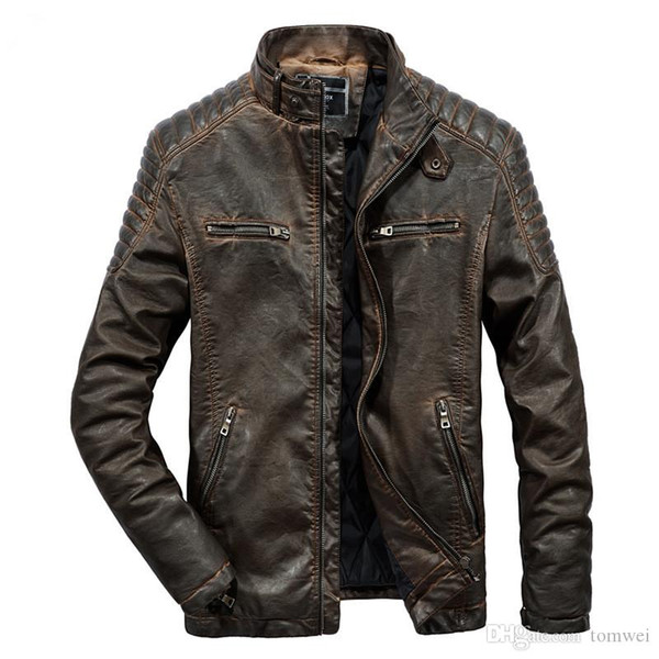 Men's Quilted Leather Jacket Motorcycle Bikers Jackets Autumn Winter Outwear Coats Large Size Male Clothes Thick Warm Tops 2018 Wholesale