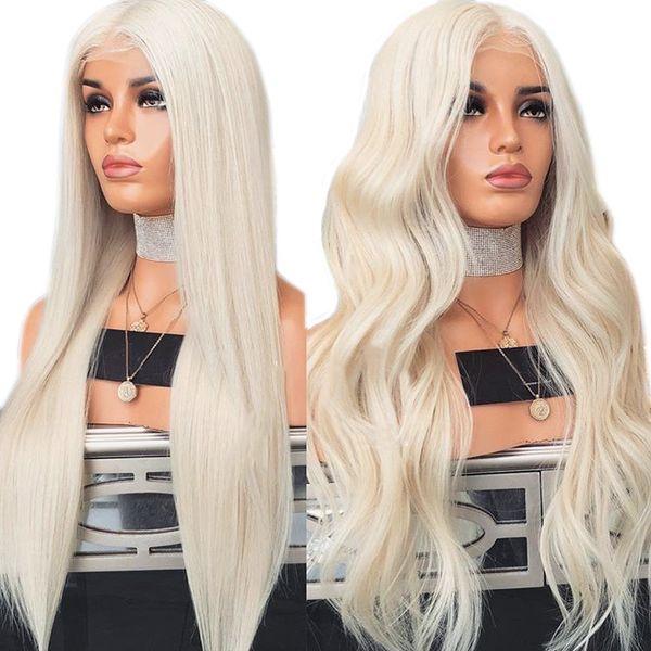Charisma # 60 платиновый блондин парик с волосами младенца 26 дюймов синтетический парик фронта шнурка Glueless термостойкие парики для женщин