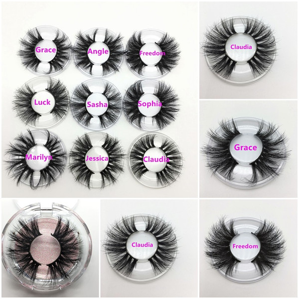 top popular 25 mm Long 3D Mink Eyelashes Private Label Logo Mink Eyelash Extensions Dramatic Thick Mink Lashes Cruelty free Fluffy Natural False Lashes 2020