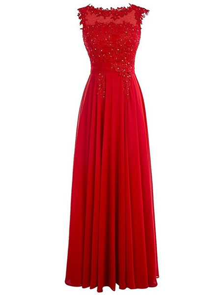 Red Chiffon A Line Pageant Evening Dresses Women's Lace Beading Long Bridal Gown Special Occasion Prom Bridesmaid Party Dress 17LF437