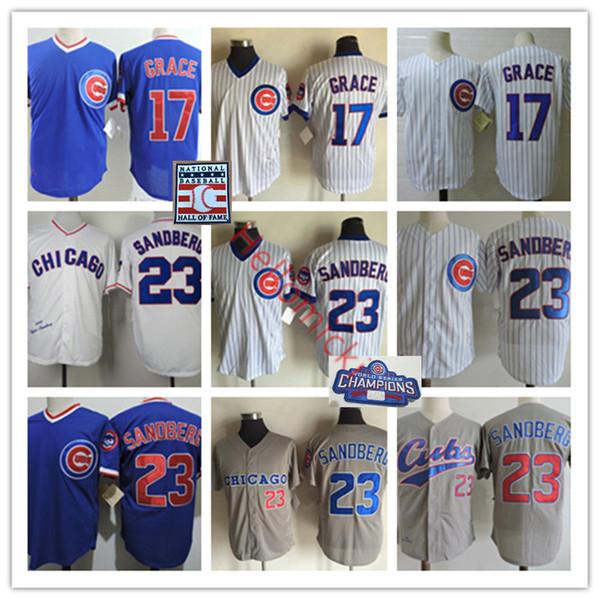Mens CHI # 17 MARK jersey GRACE costurado pulôver branco cinza azul Vintage # 23 Ryne Sandberg Jerseys S-3XL