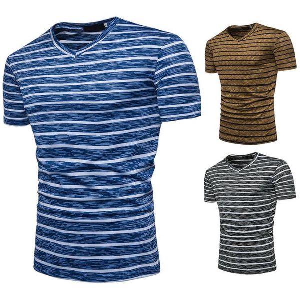 2019 summer new men's fashion Europe and America stripes large size short-sleeved T-shirt casual designer hip hop men's short-sleeved shirt