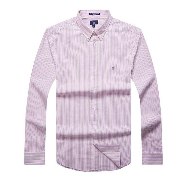 Men long sleeve striped business elegant pink shirt oxford high quality oversized formal shirt men embroidery printed Christmas blouse man
