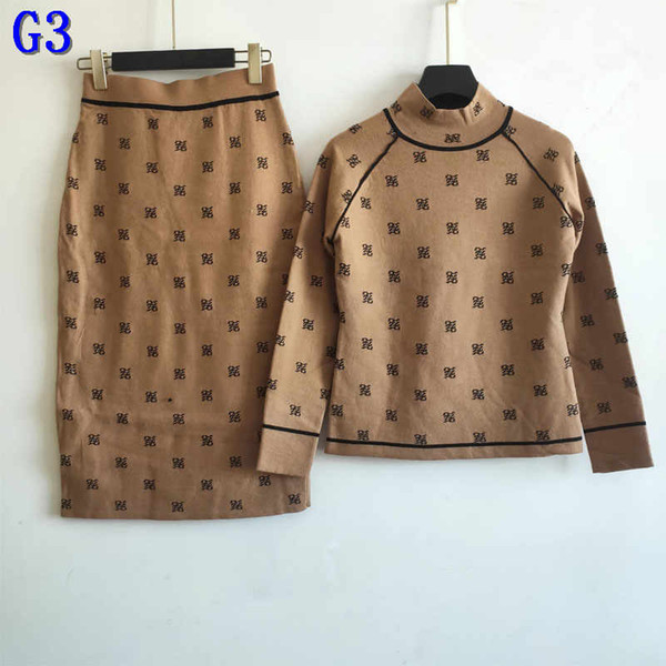 Brand Womens Two Piece Dress Sets Fashion Autumn and Winter Two Piece Sets Fashion Women Sweater + Dress Suits with Letter Printed FG3