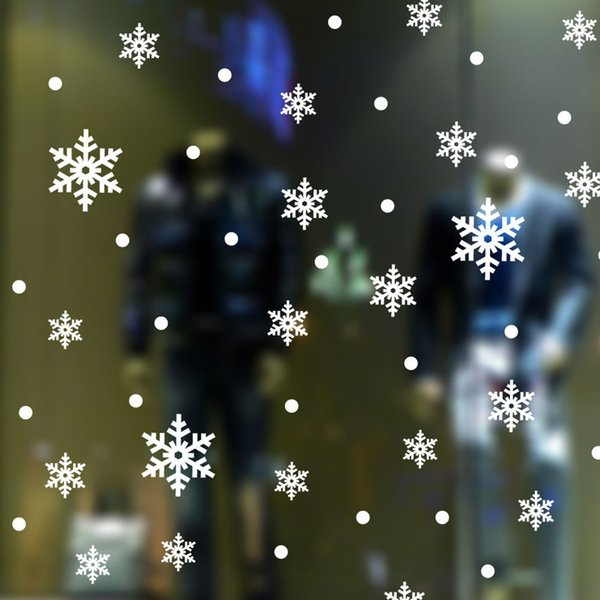 Newest Snow Flakes Window Stickers Snowflake Wall Stickers Christmas Window Wall Decals Xmas Christmas Decoration D19011702