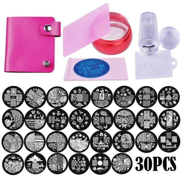 30Pcs Round Stamping Plate Nail Art Stamping Plate stamper & scraper set DIY Nail Template Manicure Nail Decoration Tools