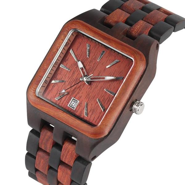 Montre en bois à la main naturelle avec calendrier pour la mode des hommes tout bracelet en bois montre-bracelet ébène rouge bois de santal femmes montre en bois