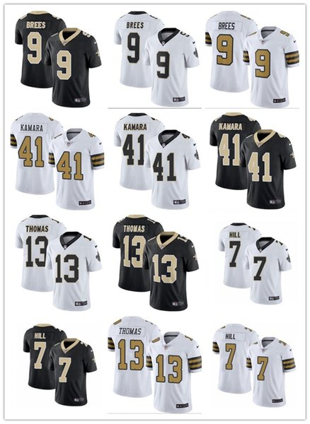 Hombres Mujeres Jóvenes #New Orleans # 9 Drew Brees 41 Alvin Kamara 13 Michael Thomas 7 Taysom Hill Custom Black Re Football Jerseys Saints