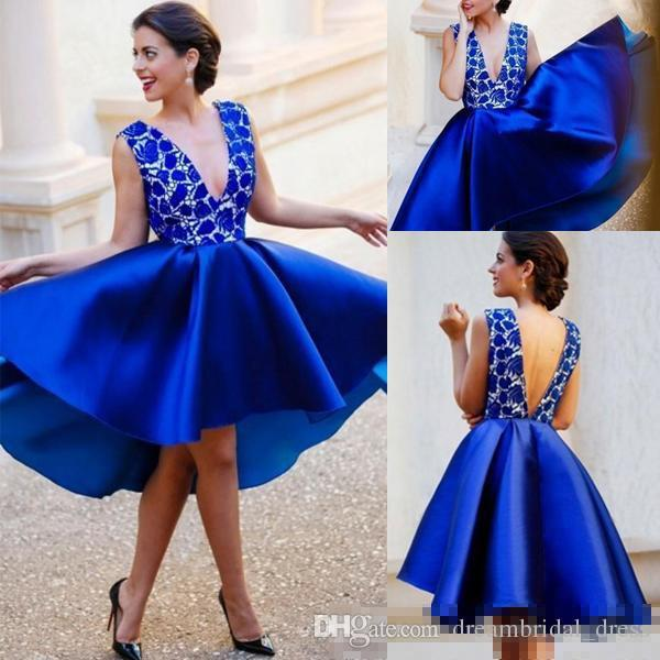 Cheap Blue Short Party Cocktail Dresses 2017 Deep V Neck Backless Lace Knee Length Satin Prom Gowns Homecoming Bridesmaid Dress Formal Wear