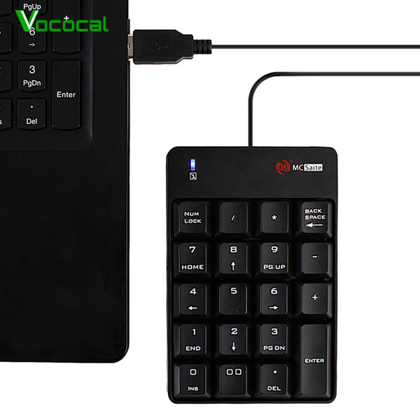 Vococal Mini Wired 19 Keys USB Numeric Keypad Keyboard Numpad for iMac Mac Book Air MacBook Pro New Version Computer Laptop