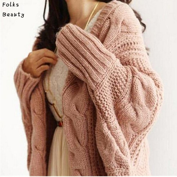 Automne Hiver Cardigans tricotés Manteau Femmes 2015 Mode manches longues Batwing Poncho Pull Belle Womans Crochet Cardigan SH190930