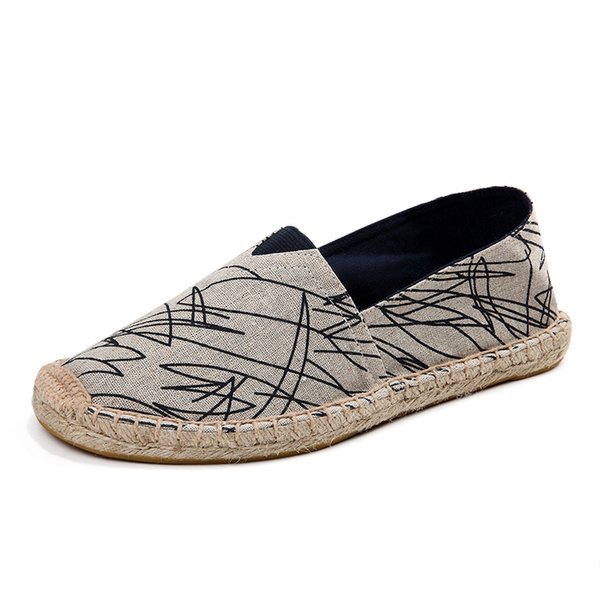 Hot Sale Leisure Flat Canvas Shoes for Men Women Soft Couple Espadrilles Handmade Slip On Straw Shoe Unisex