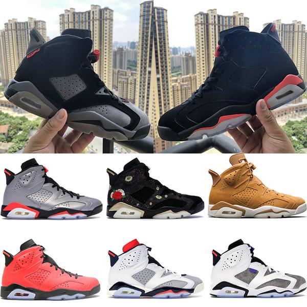 Jumpman Yansıtan gümüş 6 6s erkek basketbol ayakkabıları siyah kızılötesi Uçuş Nostalji PSG buğday CNY tamirci oreo erkek spor ayakkabı tasarımcısı US7-13