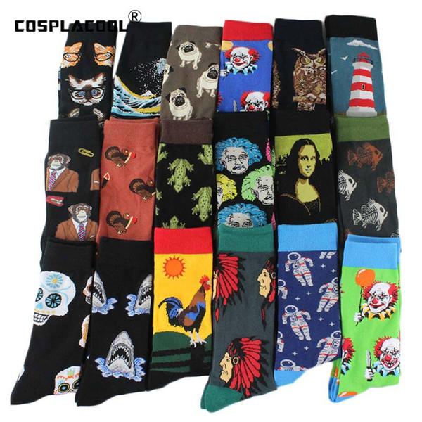 Mutlu Serin Harajuku Ekip Erkek Çorap Hip Hop Sokak Büyük Boy Komik Çorap Erkekler Kaykay Boyama Calcetines Homme Divertidos Sox