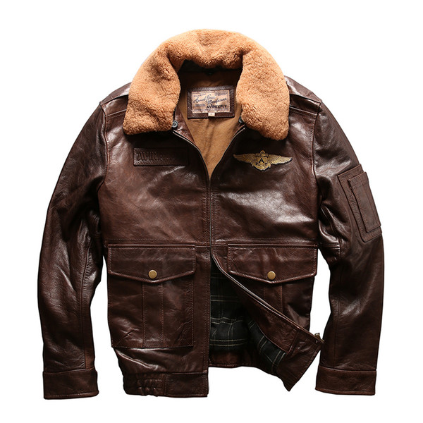 AVIREXFLY Men's A2 air force flight suit with lambs wool collar good quality layer of cowhide leather jacket