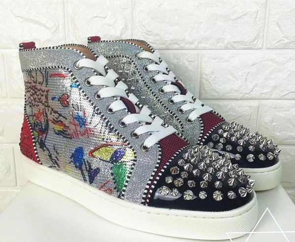 Season Doodle Red Bottom Sneakers Spikes Men Women Shoes Luxury Designer Print Silver Pik Pik No Limit RARE studs and rhinestones graffiti